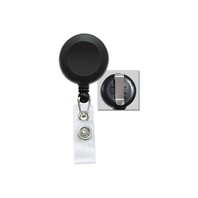 "Round Badge Reel, Belt Clip Style 1 1/4"" (32mm), Reel Diameter 1 1/4"" (32mm), Cord Length : 34"" (864mm), Label size : 3/4"" (19mm), Reinforced Vinyl Strap, - 25/pack"