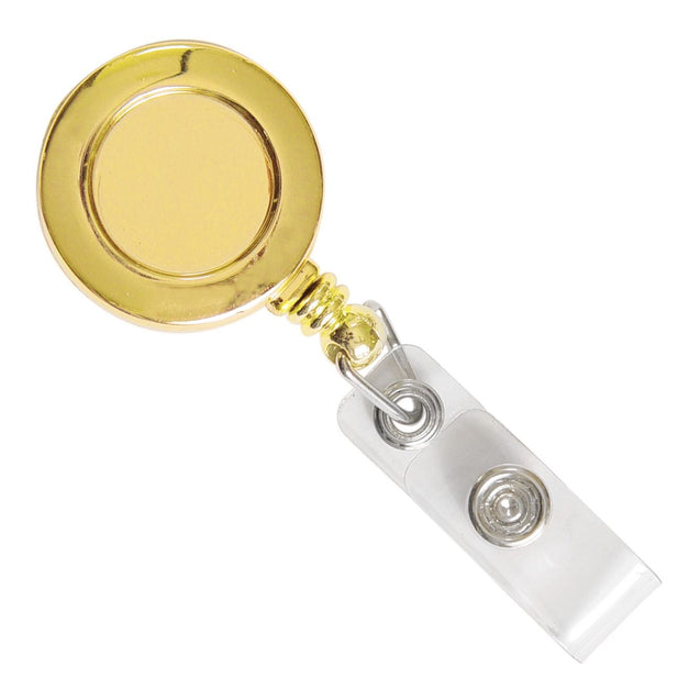 "Round Badge Reel, Belt Clip Style 1 1/4"" (32mm), Reel Diameter 1 1/4"" (32mm), Cord Length : 34"" (864mm), Label size : 3/4"" (19mm), Clear Vinyl Strap - 25/pack"