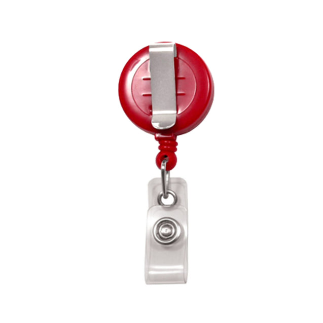 "Round Plastic Twist-Free Badge Reel, Belt Clip Style 1 1/4"" (32mm), Reel Diameter 1 1/4"" (32mm), Cord Length : 34"" (864mm), Label size : 3/4"" (19mm), Clear Vinyl Strap, - 25/pack"