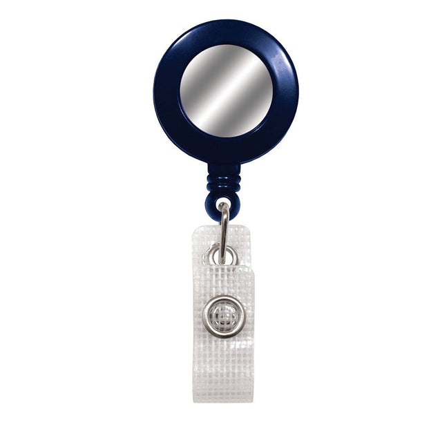 "Round Badge Reel with Sliver Sticker, Belt Clip Style 1 1/4"" (32mm), Reel Diameter 1 1/4"" (32mm), Cord Length : 34"" (864mm), Label size : 3/4"" (19mm), Reinforced Vinyl Strap - 1000/pack"