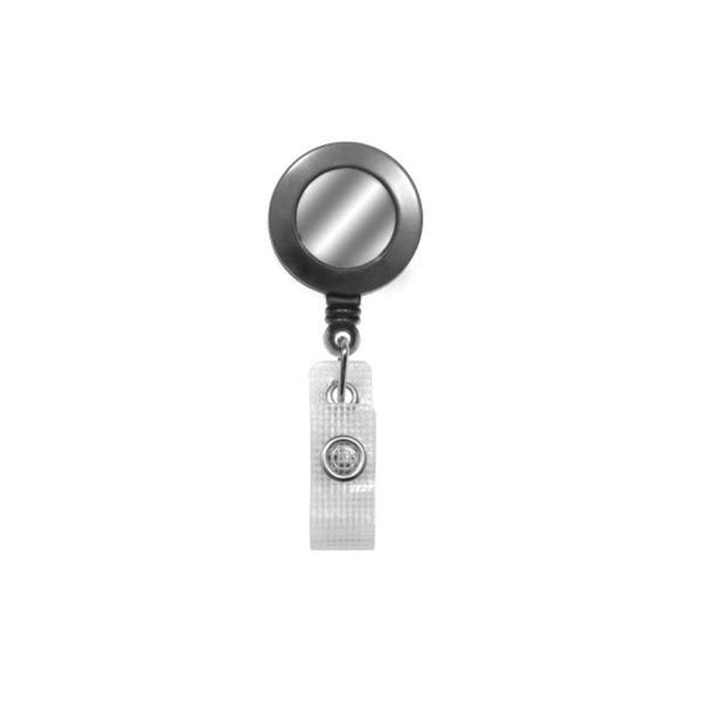 "Round Badge Reel with Sliver Sticker, Belt Clip Style 1 1/4"" (32mm), Reel Diameter 1 1/4"" (32mm), Cord Length : 34"" (864mm), Label size : 3/4"" (19mm), Reinforced Vinyl Strap, - 25/pack"