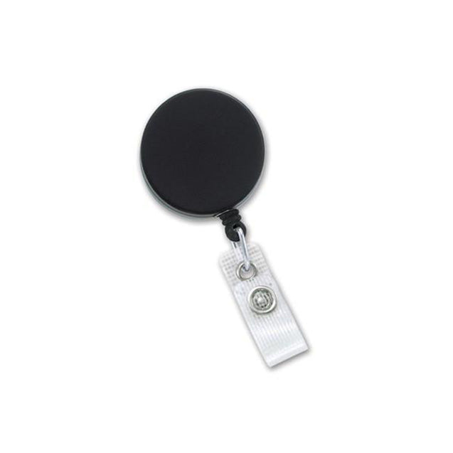 "Heavy Duty Badge Reel, Belt Clip Style 1 1/2"" (38mm), Reel Diameter 1 1/2"" (38mm), Cord Length : 24"" (588mm), Label size : 1 1/2"" (38mm), Nylon Cord ; Clear Vinyl Strap, - Color Black/Chrome"