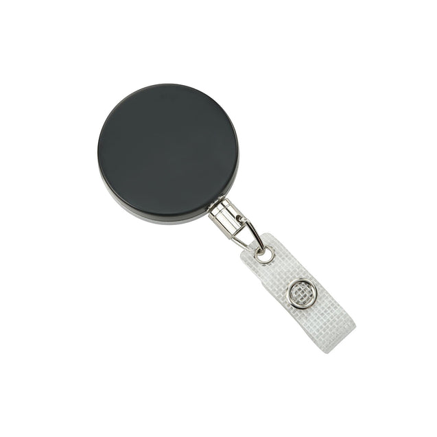 "Heavy Duty Badge Reel, Belt Clip Style 1 1/2"" (38mm), Reel Diameter 1 1/2"" (38mm), Cord Length : 18"" (457mm), Label size : 1 1/2"" (38mm), Chain Cord ; Clear Vinyl Strap, - Color Black/Chrome"