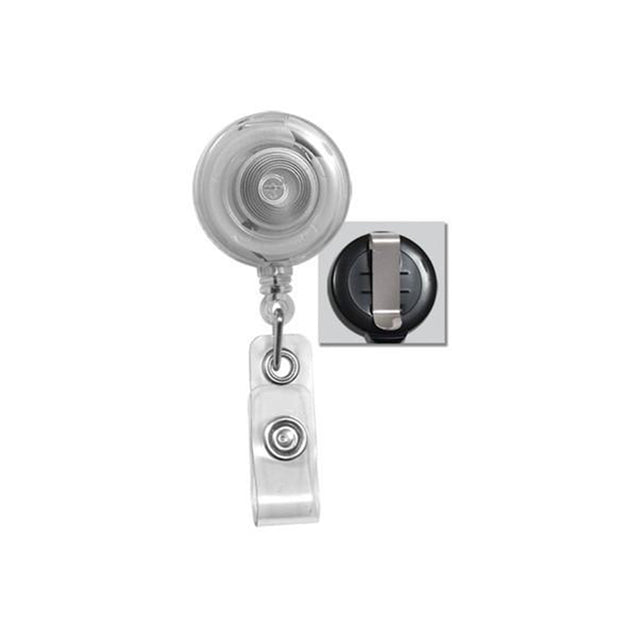 "Round Badge Reel, Belt Clip Style 1 1/4"" (32mm), Reel Diameter 1 1/4"" (32mm), Cord Length : 34"" (864mm), Label size : 3/4"" (19mm), Clear Vinyl Strap - 1000/pack"