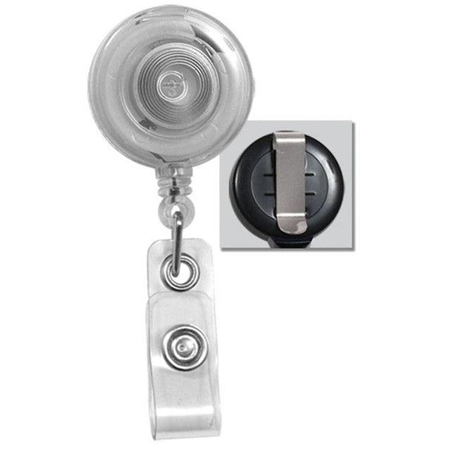 "Round Badge Reel with White Sticker, Belt Clip Style 1 1/4"" (32mm), Reel Diameter 1 1/4"" (32mm), Cord Length : 34"" (864mm), Label size : 3/4"" (19mm), Clear Vinyl Strap"