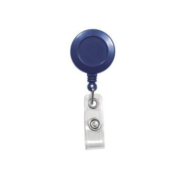 "Round Badge Reel, Spring Clip Style 1 1/4"" (32mm), Reel Diameter 1 1/4"" (32mm), Cord Length : 34"" (864mm), Label size : 3/4"" (19mm), Clear Vinyl Strap, - 25/pack"
