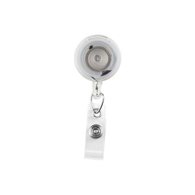 "Round Badge Reel, Spring Clip Style 1 1/4"" (32mm), Reel Diameter 1 1/4"" (32mm), Cord Length : 34"" (864mm), Label size : 3/4"" (19mm), Clear Vinyl Strap - 1000/pack"