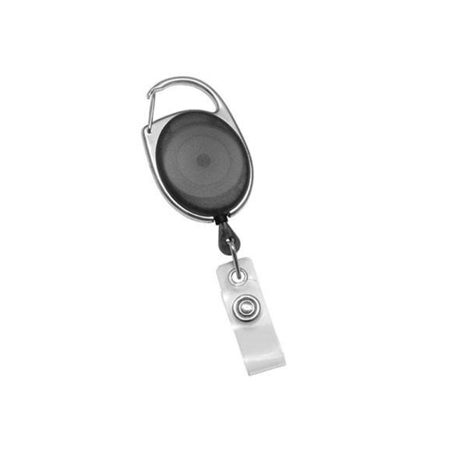 "Premier Carabiner Badge Reel, Carabiner only 1 1/4"" (32mm), Reel Diameter 1 1/4"" (32mm), Cord Length : 30"" (762mm), Custom Print both size / Imprint size : 1"" H x 1"" W (28.5mm x 28.5mm), Clear Vinyl Strap, - 25/pack"