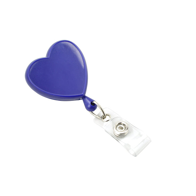 "Heart Shaped Badge Reel, Swivel Clip Style 1 1/4"" (32mm), Reel Diameter 1 1/4"" (32mm), Cord Length : 34"" (864mm), Label size : 1 7/16"" x 1 "" (34m x 35mm), Clear Vinyl Strap, - 25/pack"