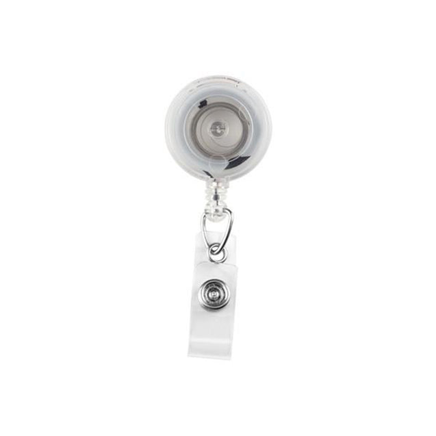 "Round Badge Reel, Swivel Clip Style 1 1/4"" (32mm), Reel Diameter 1 1/4"" (32mm), Cord Length : 34"" (864mm), Label size : 3/4"" (19mm), Clear Vinyl Strap - 1000/pack"