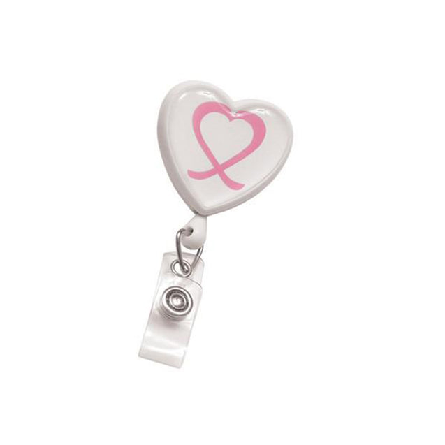 "Heart Shaped Badge Reel, Swivel Clip Style with Dome Label (Awareness) 1 1/4"" (32mm), Reel Diameter 1 1/4"" (32mm), Cord Length : 34"" (864mm), Label size : 1 7/16"" x 1 "" (34m x 35mm), Clear Vinyl Strap, - 25/pack"