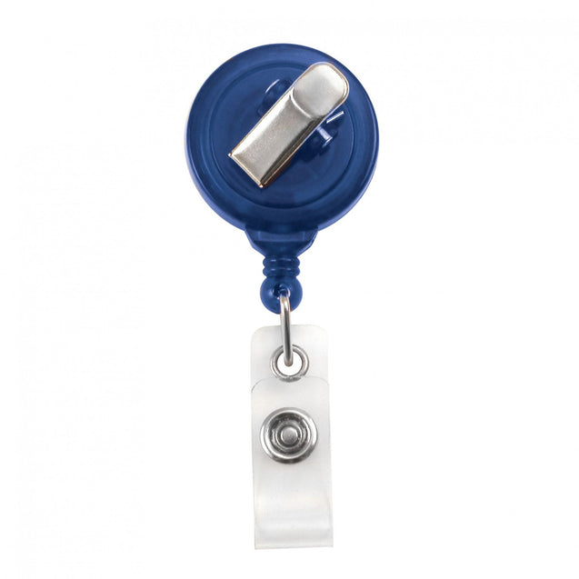 "Round Plastic Twist-Free Badge Reel, Swivel Clip Style 1 1/4"" (32mm), Reel Diameter 1 1/4"" (32mm), Cord Length : 34"" (864mm), Label size : 3/4"" (19mm), Clear Vinyl Strap, - 25/pack"
