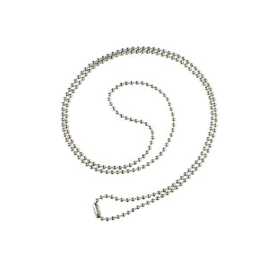 "Ball Chain, Steel Ball Chain with Connector No. 3 (2.3mm), Nickel-Plated, Length 30"" (762mm), Bead Size No.3 (2.3mm) - Color Sliver - 100/pack"