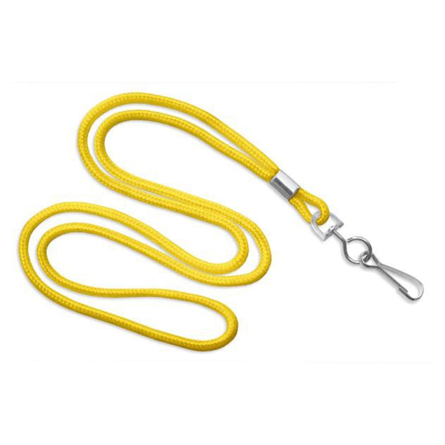 "Standard Lanyard, Round Braid Lanyard 1/8"" (3mm), Round Braided Polypropylene Lanyard, Non-Breakaway, Swivel Hook, Solid Material Color - 100/pack"