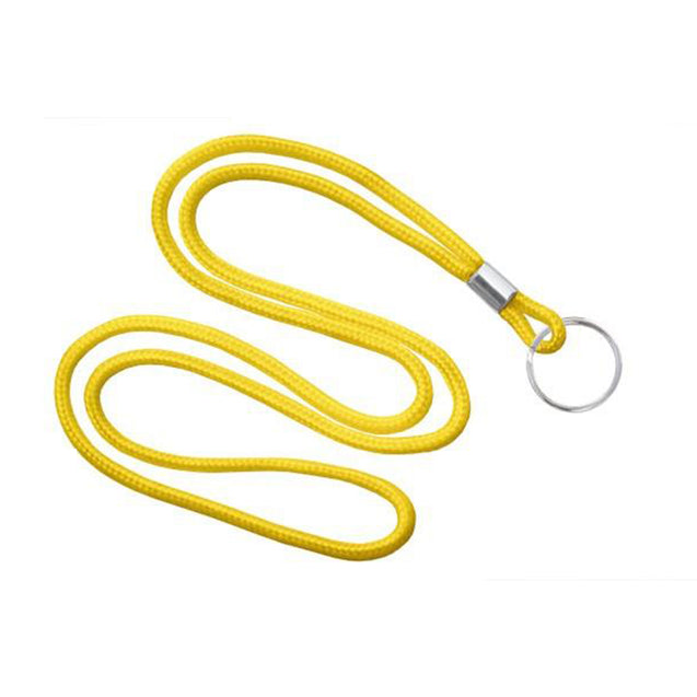 "Standard Lanyard, Round Braid Lanyard 1/8"" (3mm), Round Braided Polypropylene Lanyard, Non-Breakaway, Split Ring, Solid Material Color - 100/pack"