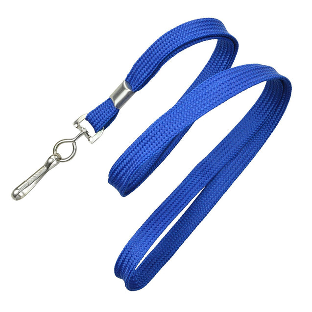"Standard Lanyard, Flat Braid Lanyard 3/8"" (10mm), Flat Tubular Polyproylene Lanyard, Non-Breakaway, NPS Swivel Hook, Universal Slide Adapter - 100/pack"