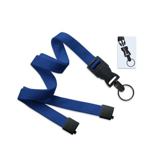 "Standard Lanyard, Optiweave Dtach Lanyard 5/8"" (16mm), Flat Tubular Polyester Lanyard, Breakaway, Dtach Split Ring, 5/8"" (16mm) wide x 36"" (900mm) long - 100/pack"