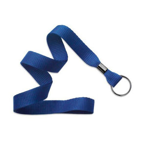 "Standard Lanyard, Flat Polyester Lanyard 5/8"" (16mm), Flat Ribbed Polyester Lanyard, Non-Breakaway, Black-Oxide Split Ring, 5/8"" (16mm) wide x 36"" (900mm) long, Crimp Finishing - 100/pack"
