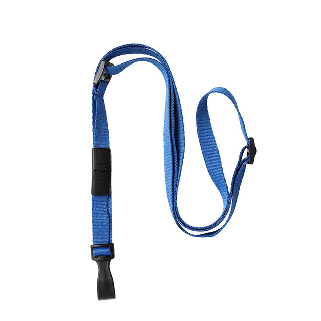 "Standard Lanyard, Adjustable Breakaway Lanyard 3/8"" (10mm), Flat Ribbed Polyester Lanyard, Breakaway, Slide Adjuster, Wide ""no-twist"" plastic hook, 3/8"" wide x 24-44"" long (adjustable) - 100/pack"