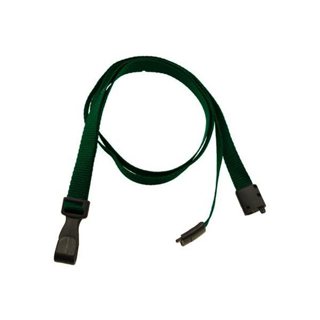 "Standard Lanyard, Recycled PET Lanyard 3/8"" (10mm), Breakaway, Wide Plastic No-Twist Hook, 3/8"" (10mm) wide x 36"" (900mm) long - 100/pack"