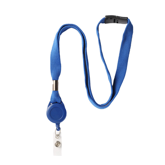 "Standard Lanyard, Lanyard Badge Reel Combo 5/8"" (16mm), Tubular lanyard, Breakaway, Plastic Round Slotted Reel with Clear Vinyl Strap, 5/8"" (16mm) wide x 36"" (900mm) long - 25/pack"