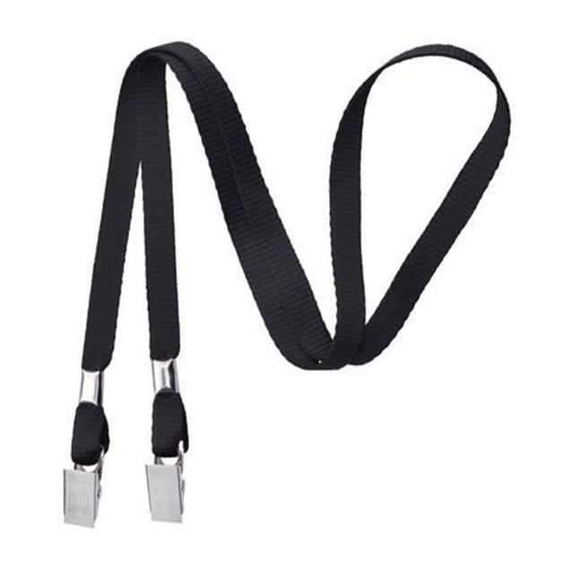 "Standard Lanyard, Open-Ended Event Lanyard 3/8"" (10mm), Polyester Lanyard, Non-Breakaway, Two Bulldog Clips, 3/8"" (10mm) wide x 36"" (900mm) long - 100/pack"