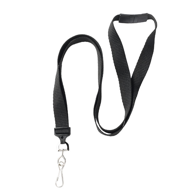 "Standard Lanyard, Flat Ribbed Lanyard 5/8"" (16mm), Flat Ribbed Polyester Lanyard, Breakaway, NPS Swivel Hook, Universal Slide Adapter - 1000/pack"