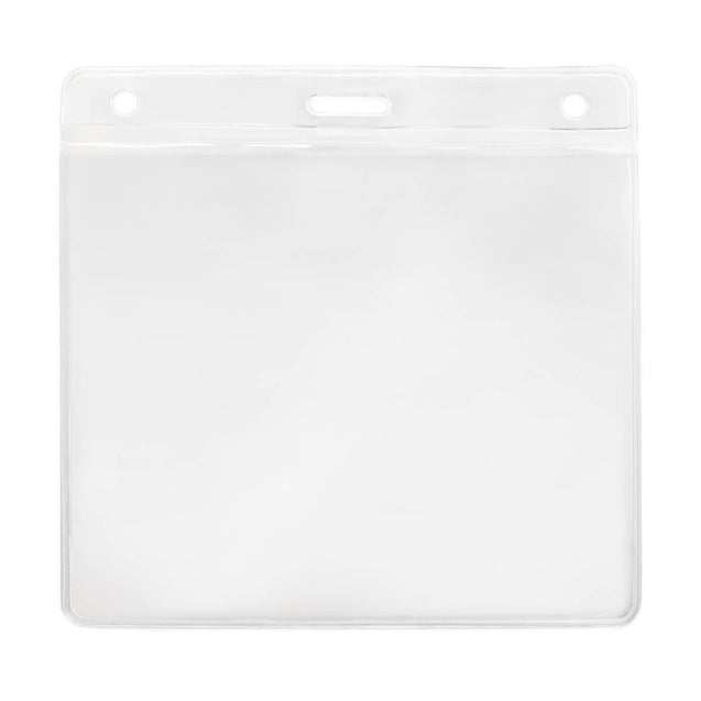 "Vinyl Badge Holder, Color-Coded Vinyl Badge Holder 4.25"" x 3.63"" (108 mm x 92mm), Clear vinyl pocket front with color bar at top, Front and back thickness of 8 mils, Horizontal top-load format -100/pack"