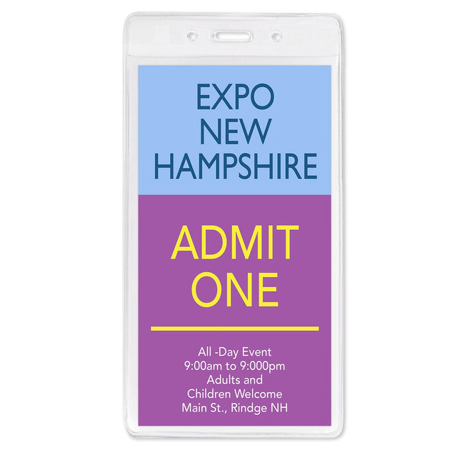 "Vinyl Badge Holder, Economy Event Badge Holder 3.25"" x 6.25"" (83 mm x 159 mm), One Pocket  - Credential / Event Size ; Slot and Chain Holes, thickness 0.25 mm front and 0.25 mm back, Color Clear - 100/pack"