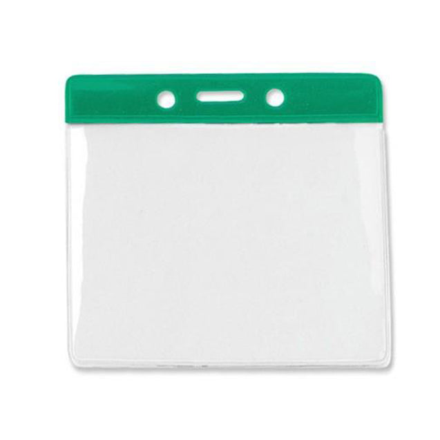 "Vinyl Badge Holder, Color-Coded Vinyl Badge Holder 4.00"" x 3.18"" (102 x 81mm), Clear vinyl pocket front with color bar at top, thickness 0.23 mm front and 0.23 mm back, Horizontal top-load format - 100/pack"