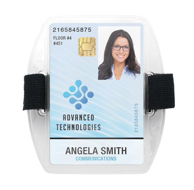 "Speciality Badge Holder, Armband Holder Series 2.75"" X 3.8"" (70 x 97mm), Arm Band Badge Holder with Strap, Heavy-duty 30mil vinyl construction ; with Flexible elastic strap - 25/pack"
