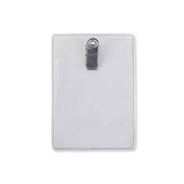 "Vinyl Badge Holder, Clip-On Badge Holder 2.75"" x 3.87: (70 mm x 98 mm), Premium Holder with Bulldog Clip, thickness 0.25 mm front and 0.76 mm back, Color Clear - 100/pack"