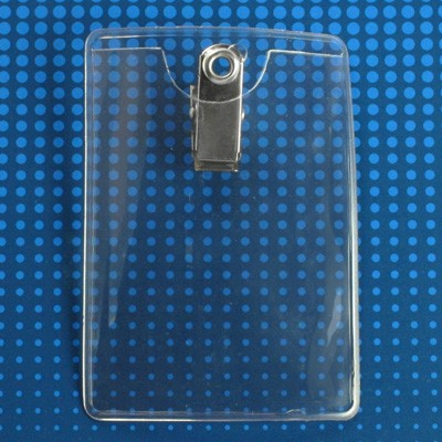 "Vinyl Badge Holder, Clip-On Badge Holder 2.50"" x 3.50"" (64 mm x 89 mm), Premium Holder with Bulldog Clip, thickness 0.25 mm front and 0.76 mm back, Color Clear - 100/pack"