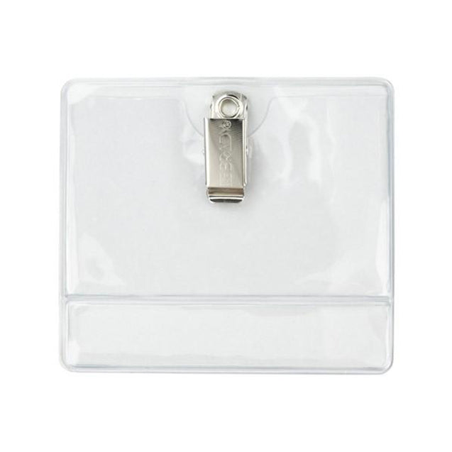 "Vinyl Badge Holder, Clip-On Badge Holder Top: 3.45"" x 2.25"" (88 mm x 57 mm); Bottom: 3.45"" x 0.50"" (88 mm x 13 mm), Clothing-Friendly Vinyl Badge Holder, Extra space at the bottom for insert, Color Clear - 100/pack"