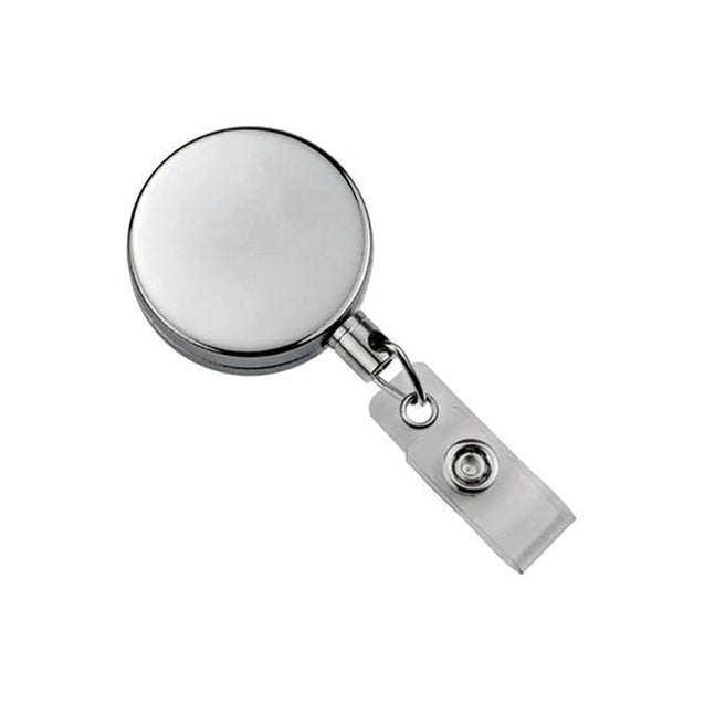 "Heavy Duty Badge Reel, Belt Clip Style 1 1/2"" (38mm), Reel Diameter 1 1/2"" (38mm), Cord Length : 24"" (588mm), Label size : 1 1/2"" (38mm), Nylon Cord ; Clear Vinyl Strap"