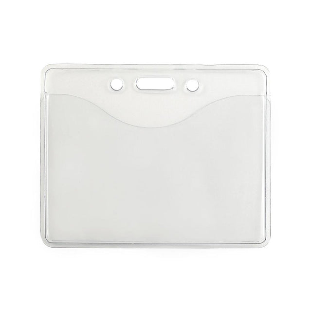 "Vinyl Badge Holder, Premium Grade Vinyl Badge Holder 2.38"" x 3.38"" (60 mm x 86 mm), 2 Full Sized Pocket for multi-cards, thickness 0.3 mm front and 0.76 mm back, Color Clear - 100/pack"