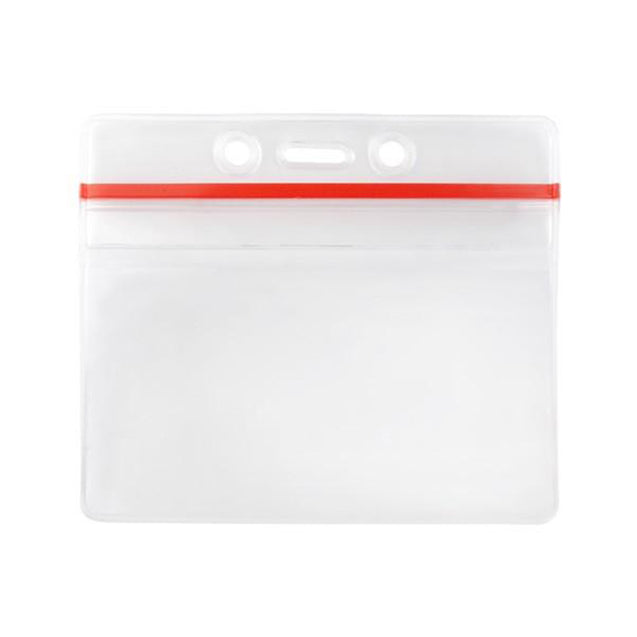 "Vinyl Badge Holder, Anti-Print Transfer Badge Holder 3.63"" x 2.50"" (92 mm x 64 mm), Zipper Closure - Red Zip Lock, Government Size, thickness 0.3 mm front and 0.51 mm back - Color Clear"