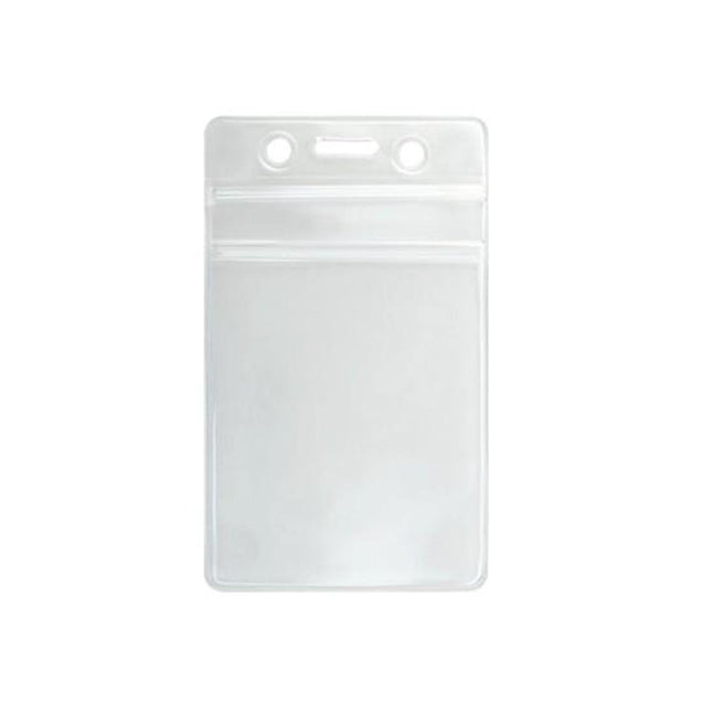 "Vinyl Badge Holder, Resealable Zip Lock Vinyl Holder 2.50"" x 3.625"" (61 mm x 91 mm), Weather resistant, Clear Zip Lock, Heavy-duty 30mil vinyl construction - Color Clear - 100/pack"