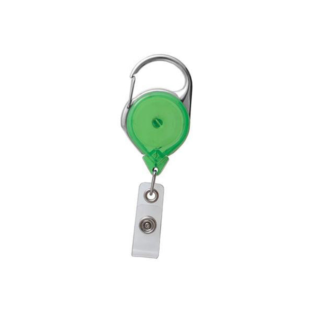 "Twist-Free Carabiner Badge Reel, Carabiner only 1 1/4"" (32mm), Reel Diameter 1 1/4"" (32mm), Cord Length : 36"" (915mm), Label size : 1 1/16"" (28mm), Clear Vinyl Strap - 25/pack"