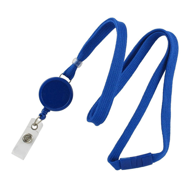 "Standard Lanyard, Tubular Lanyard 3/8"" (10mm), Flexible Tubular Polyester Lanyard, Breakaway, Badge Reel with Strap, 3/8"" (10mm) wide x 36"" (900mm) long, 47"" thread with tighter weave and softer texture - 100/pack"