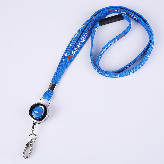 Metal Badge Reel with Tubular Silkscreen Lanyard S1912