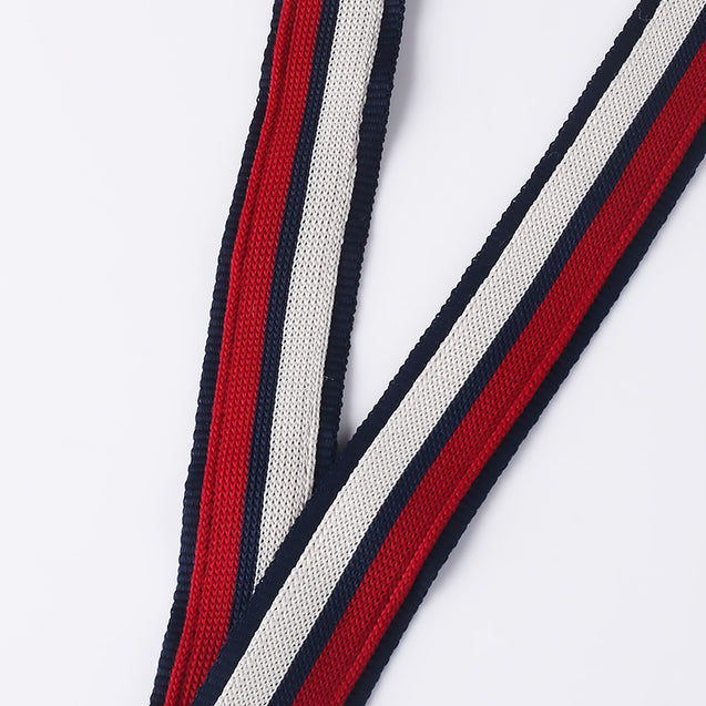 Two layers weaving Lanyard with PU Leather logo W1913