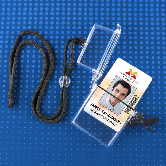 "Badge Holder,Water Resistant Card Case,Muti-Card Case Water-Resistant Holder,Adjustable Neck Cord, 2.13"" x 3.38"" (54 x 86mm), Color Clear"