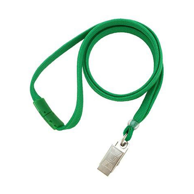 "Standard Lanyard, Tubular Lanyard 3/8"" (10mm), Flexible Tubular Polyester Lanyard, Breakaway, NPS Bulldog Clip, 3/8"" (10mm) wide x 36"" (900mm) long, 47"" thread with tighter weave and softer texture - 100/pack"