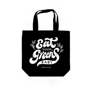 GROCERY TOTE - EAT YOUR GREENS BAG — BLACK