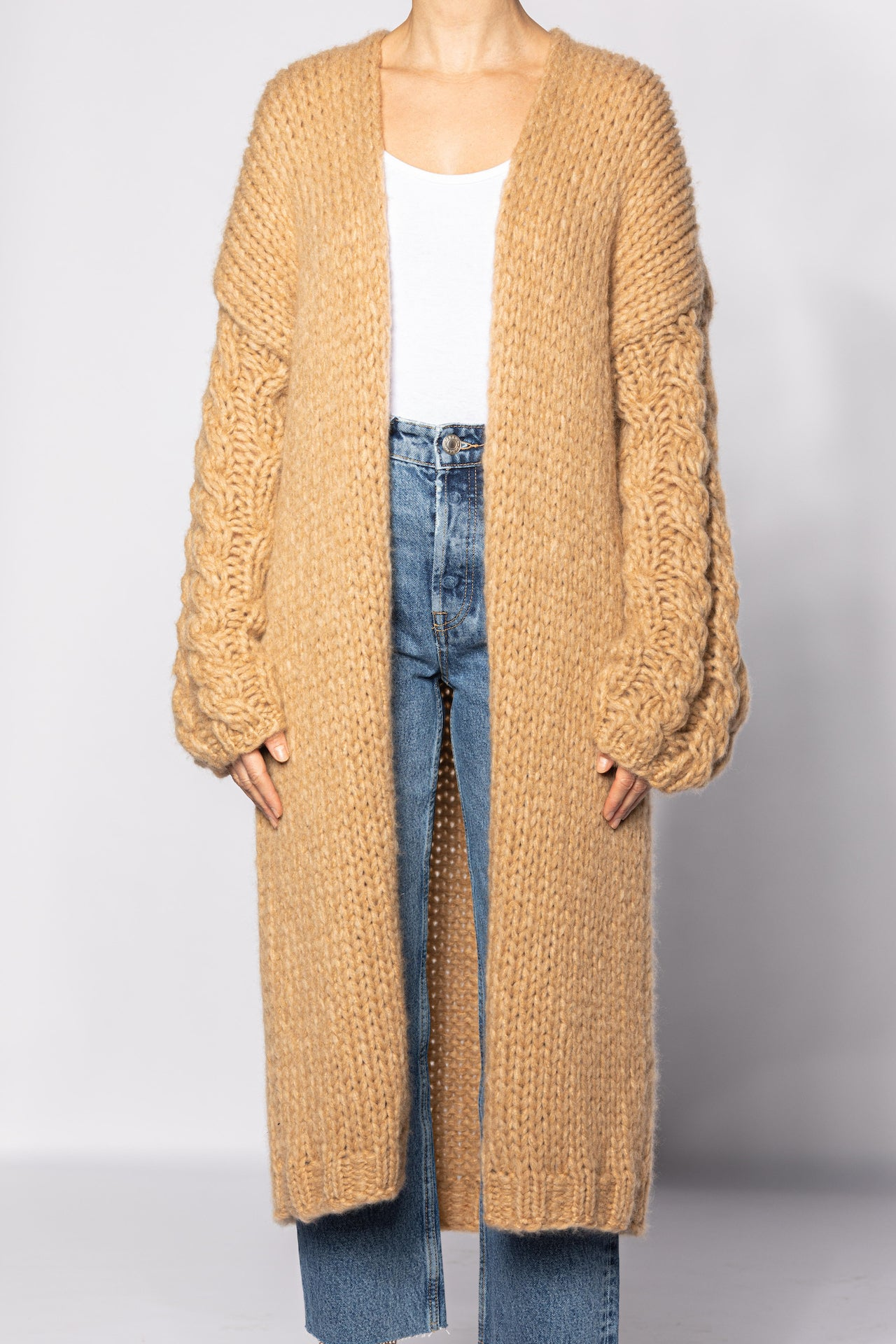 Knitted Coat with Bell Sleeves