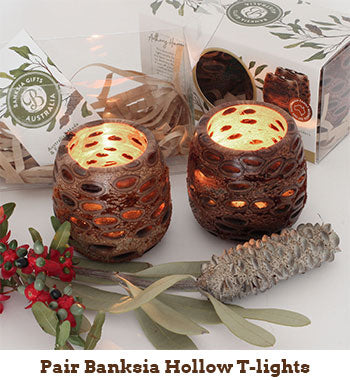 pair of banksia hollow tea lights