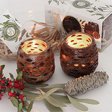 Boxed Pair Of Banksia Nut Tea Light Candle Holders