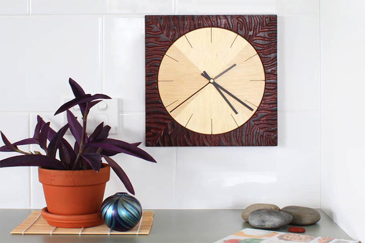 Carved Jarrah And Ash Wall Clock