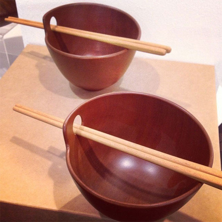 Fine Turned Rosewood Rice Bowls